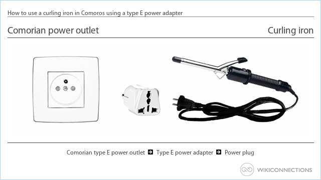How to use a curling iron in Comoros using a type E power adapter