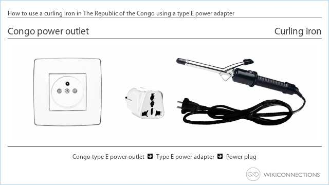 How to use a curling iron in The Republic of the Congo using a type E power adapter