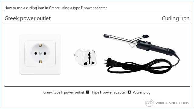 How to use a curling iron in Greece using a type F power adapter
