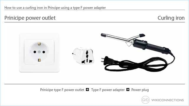 How to use a curling iron in Principe using a type F power adapter