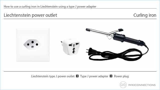 How to use a curling iron in Liechtenstein using a type J power adapter