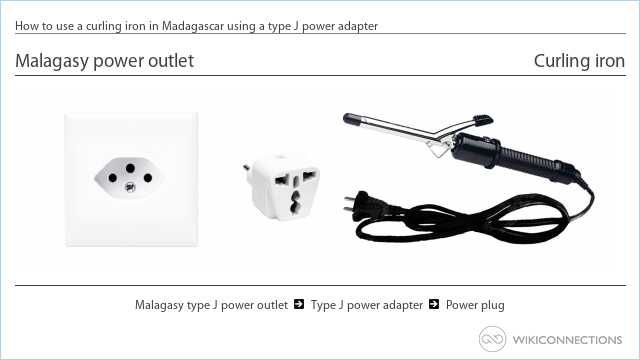 How to use a curling iron in Madagascar using a type J power adapter