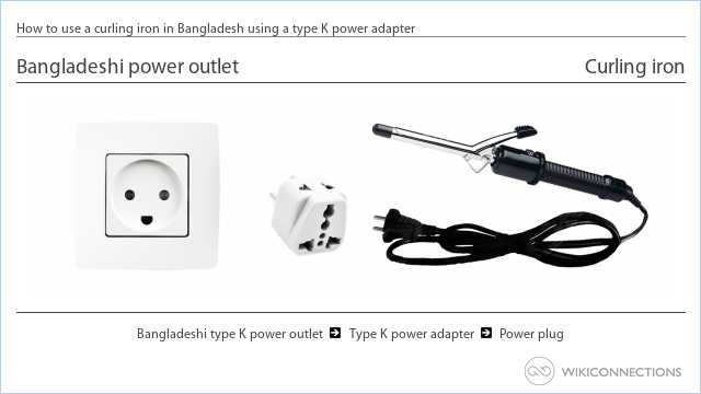 How to use a curling iron in Bangladesh using a type K power adapter