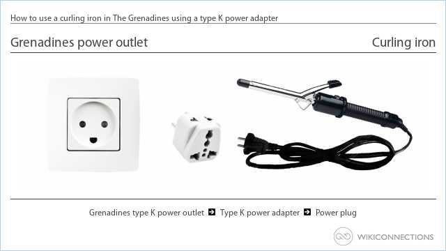 How to use a curling iron in The Grenadines using a type K power adapter