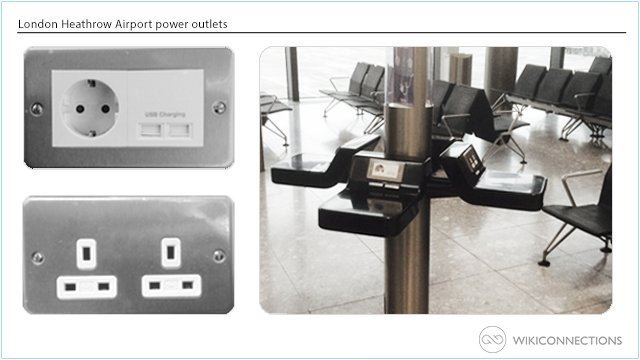 What power outlets are available in London Heathrow Airport?